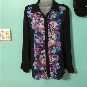 Express Black Floral Front Sheer Back Blouse S